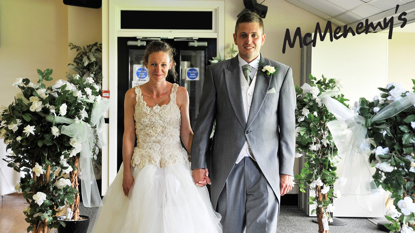 Bride & Groom walking into McMenemy's