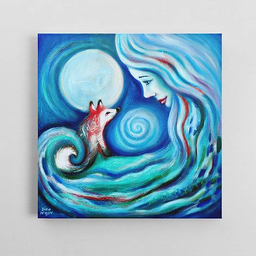 Girl fox and moon