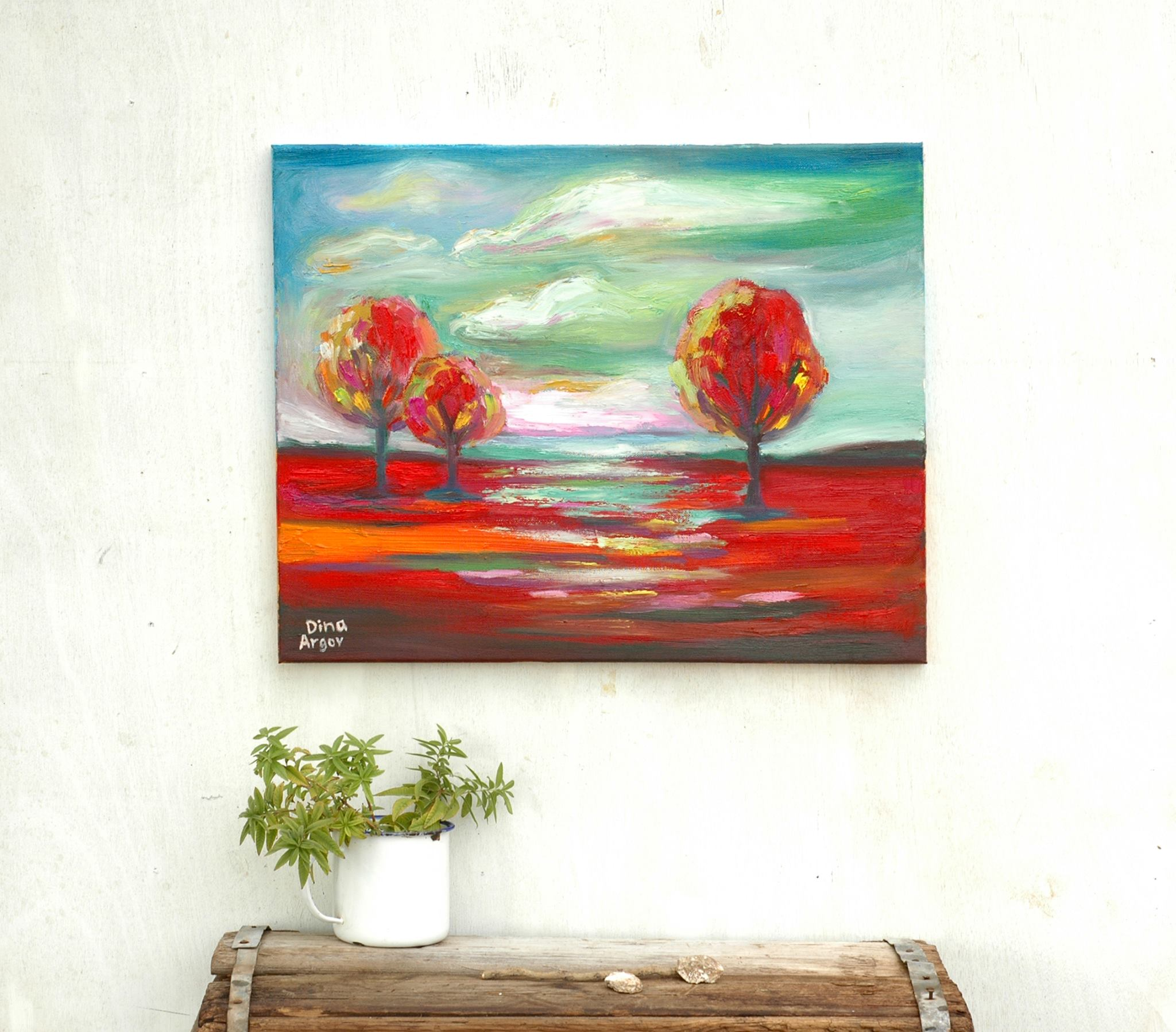 נוף עם עצים אדומים 40_45 ס_מ