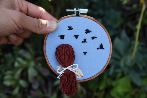 Small 3D Girl & Birds Embroidery Hoop
