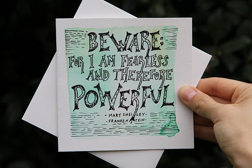 """""""I Am Fearless And Powerful"""" Square Greeting Card"""