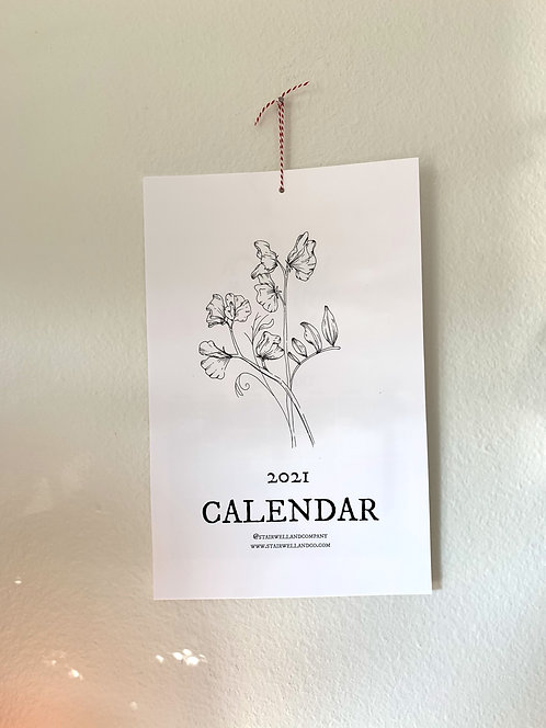 2021 Floral Illustration Calendar