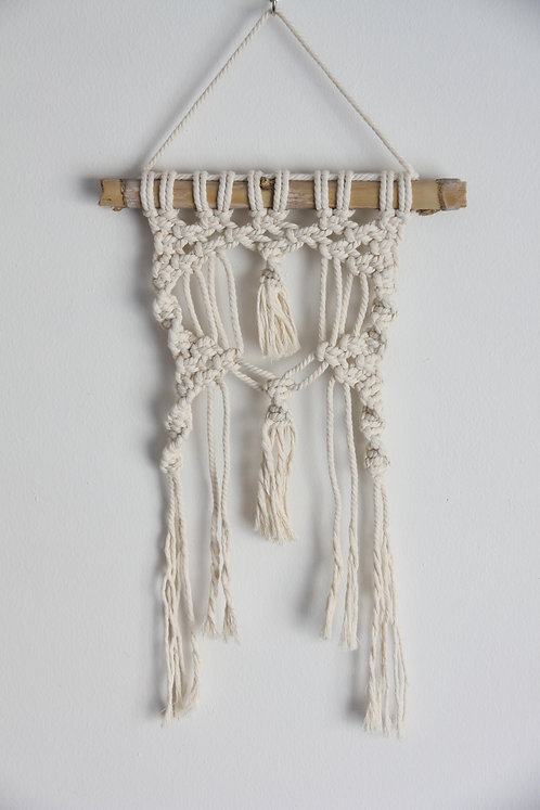 White & Bamboo Macrame Wall Hanging
