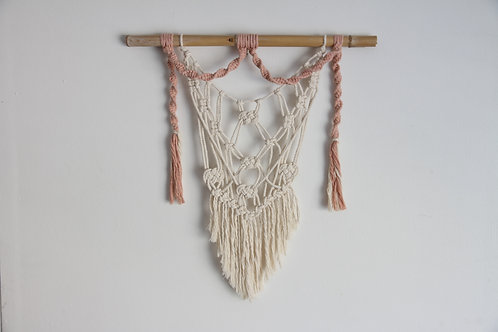 Pink and White Macrame Wall Hanging