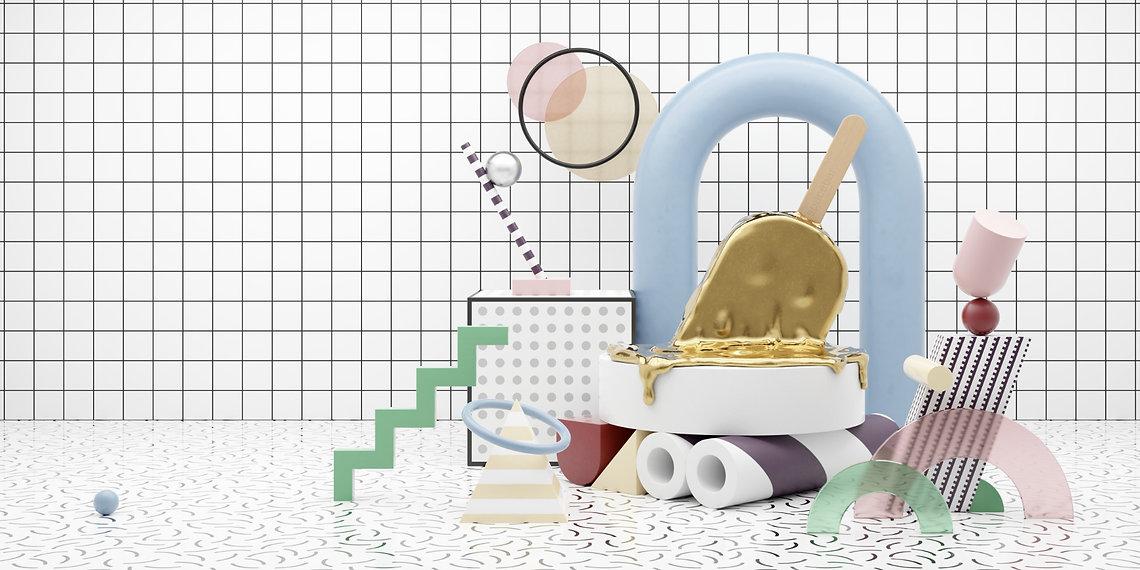 Spacebar-3D-Illustration-memphis-eis-gol