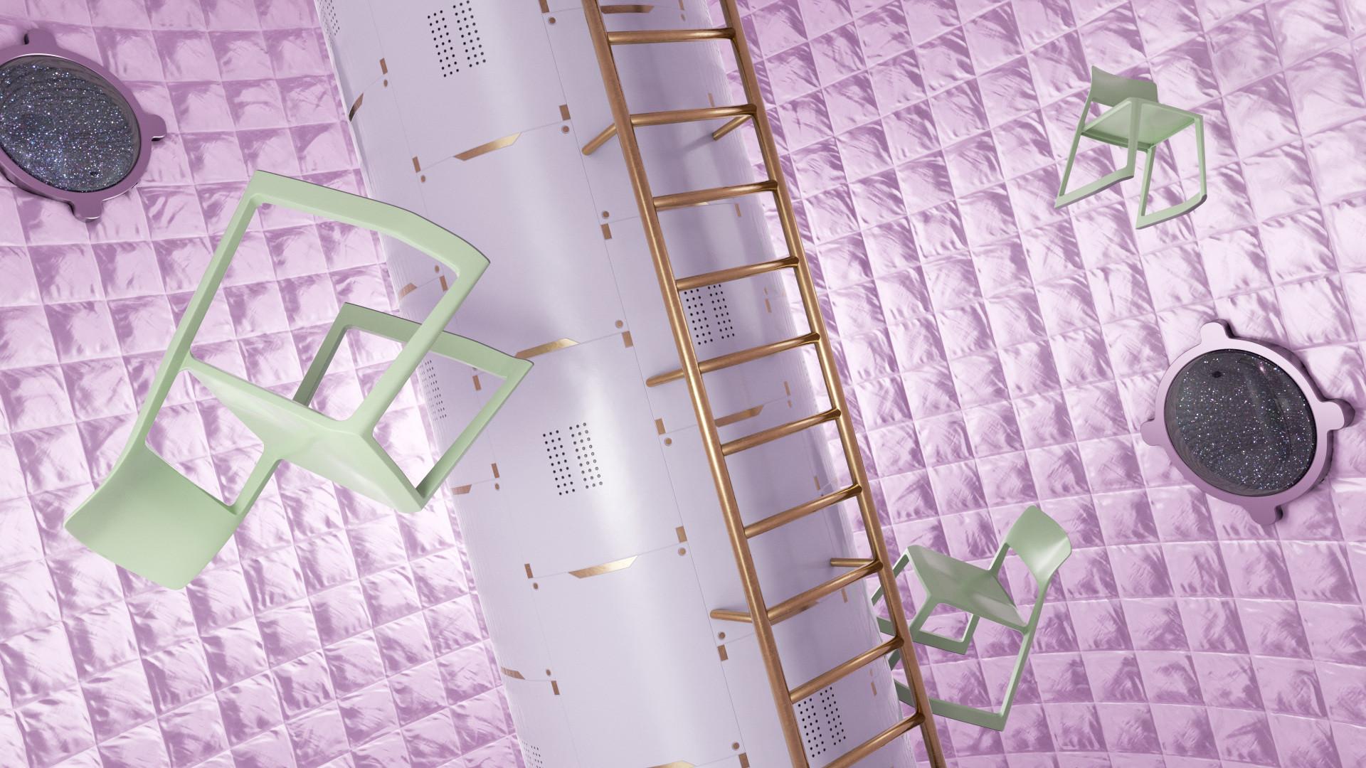 stuhl-schweben-weltall-raumstation-pink-gruen