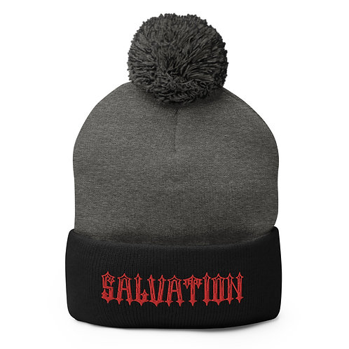 """Salvation"" Banner Pom-Pom Beanie"