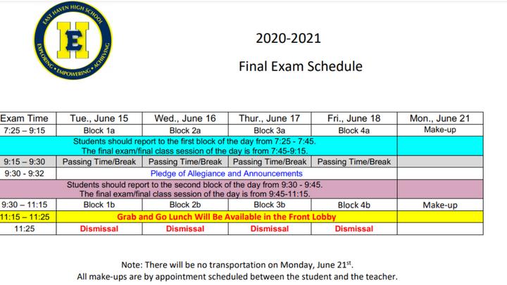 EHHS Final Exams Begin Tomorrow, June 15