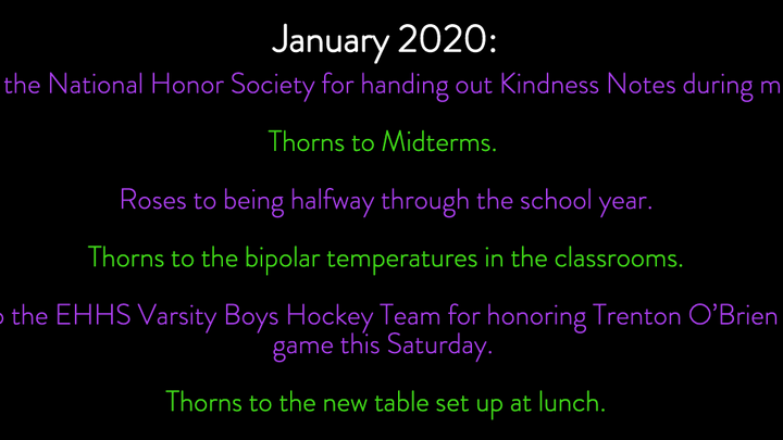 Roses and Thorns January 2020