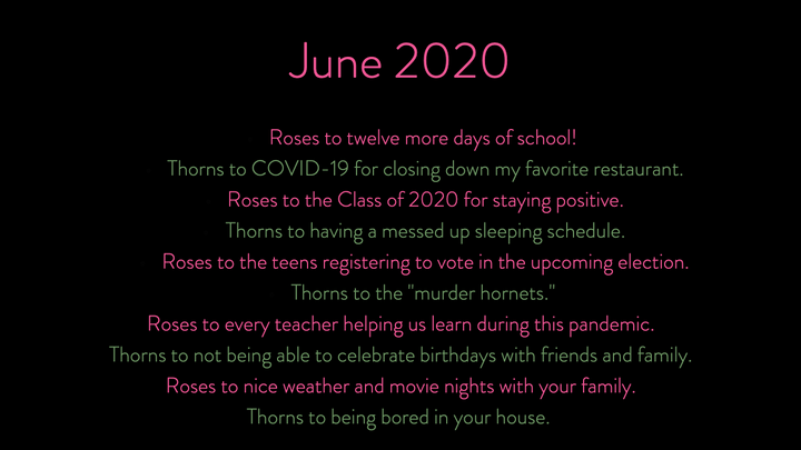 1 June 2020 Roses & Thorns