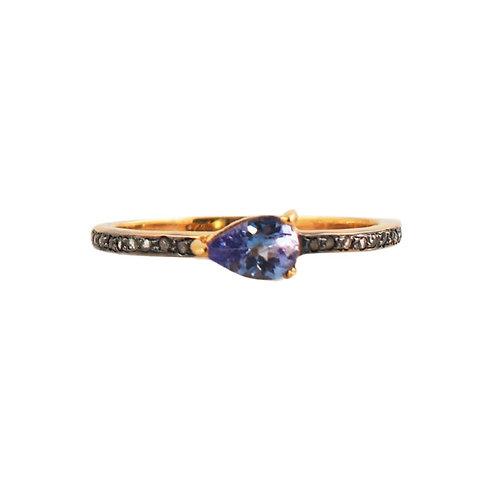 TANZANITE PEAR DIAMOND RING