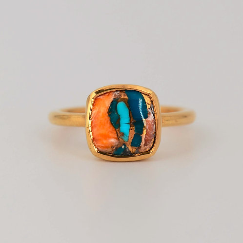 GOLD TURQUOISE INLAY CUSHION RING
