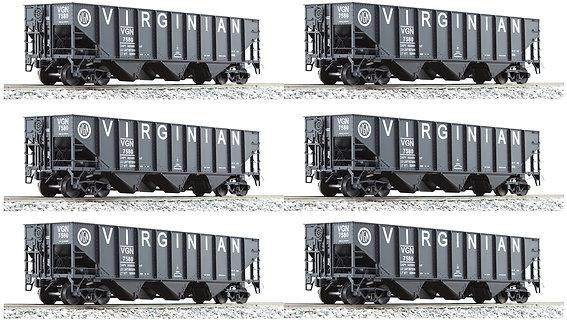 AM32-630 Virginian 3-Bay Hopper w/o End Scatter Shields, 6 car set