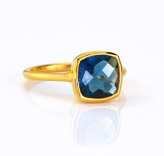 LONDON BLUE TOPAZ CUSHION RING