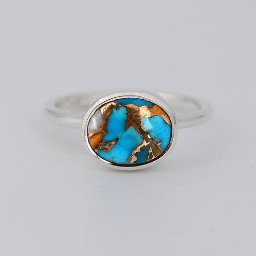 STERLING TURQUOISE INLAY OVAL RING