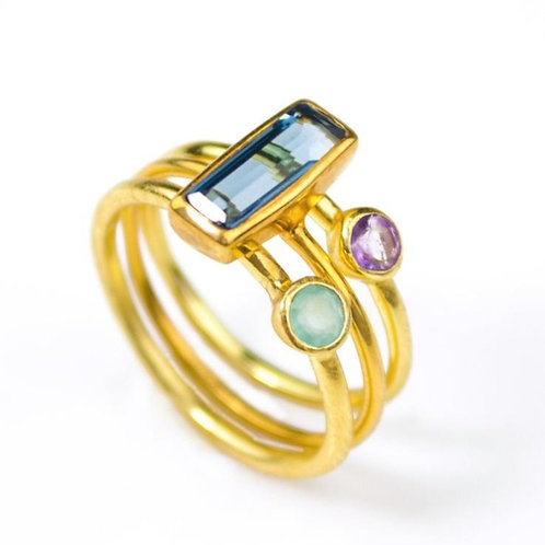 3-STACK HYBRID GEMSTONE RING SET