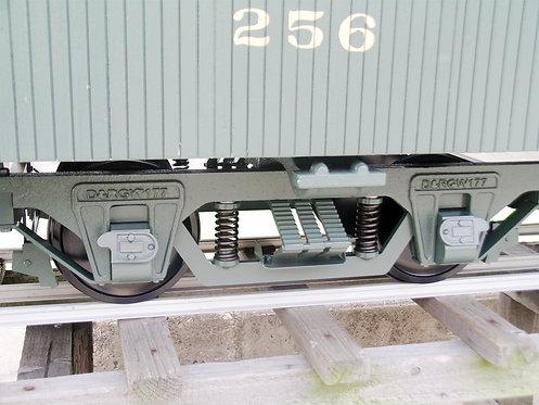 """T104-39 2 1/2"""" Scale, 7 1/2"""" Gauge, D&RGW Coach Trucks, Steel (2)"""