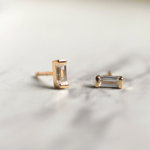 WHITE TOPAZ BAR STUDS