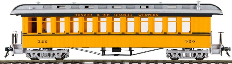 AM54-6173X On3 Coach - D&RGW Yellow Double Stripe,1 car