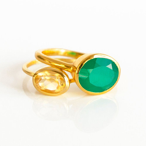 2-STACK LARGE OVAL RING SET