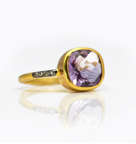 AMETHYST PAVE WHITE SAPPHIRE RING