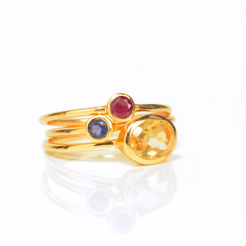 3-STACK SMALL GEMSTONE RING SET