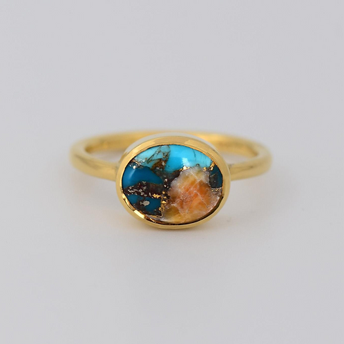 GOLD TURQUOISE INLAY OVAL GOLD RING