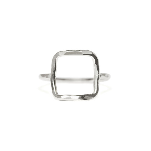 SQUARE STERLING HAMMERED RING