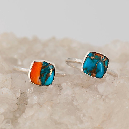STERLING TURQUOISE INLAY CUSHION RING