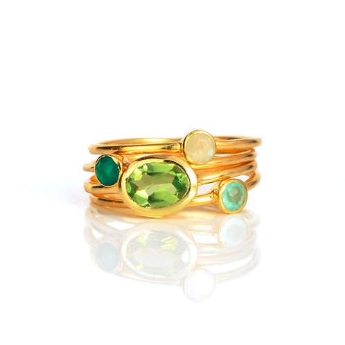 4-STACK SMALL OVAL RING SET