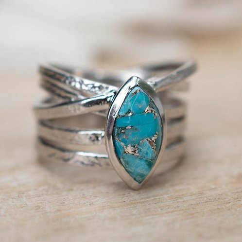 MARQUISE TURQUOISE SILVER WRAP RING