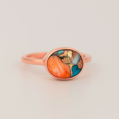 OVAL TURQUOISE INLAY ROSE GOLD  RING