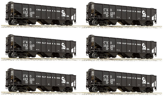 AM32-604 C&O 3-Bay Hopper w/ End Scatter Shields, 6-car set