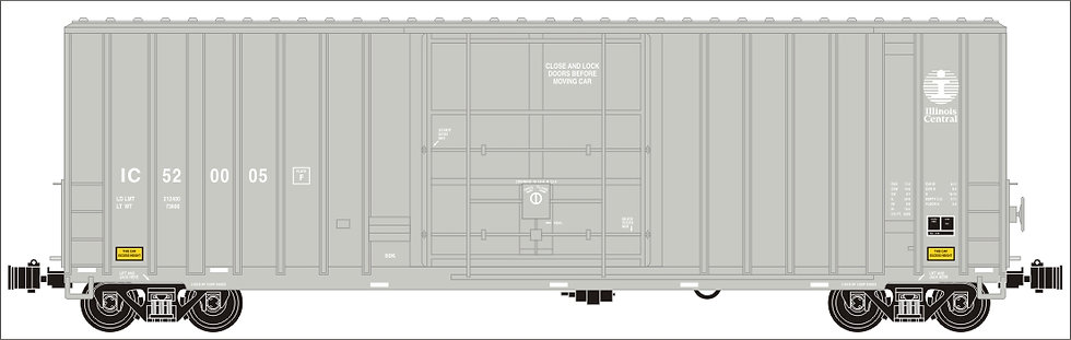 G411-12X 50' Hi-Cube Box Car - Illinois Central, Gray, 1 car