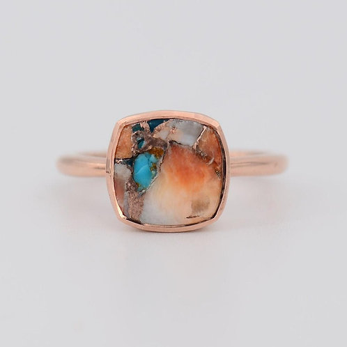ROSE TURQUOISE INLAY CUSHION RING
