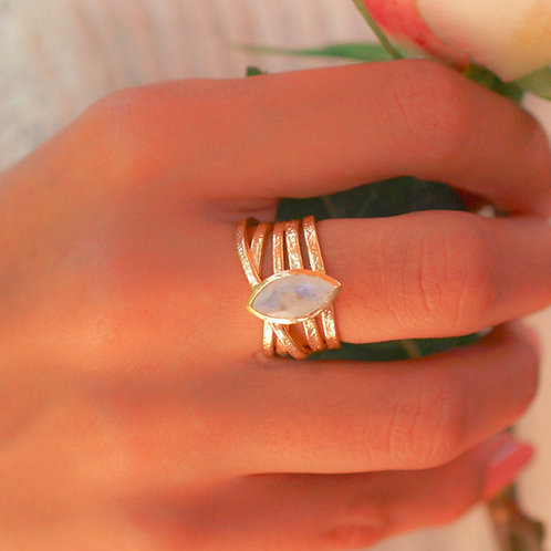 MARQUISE MOONSTONE WRAP RING