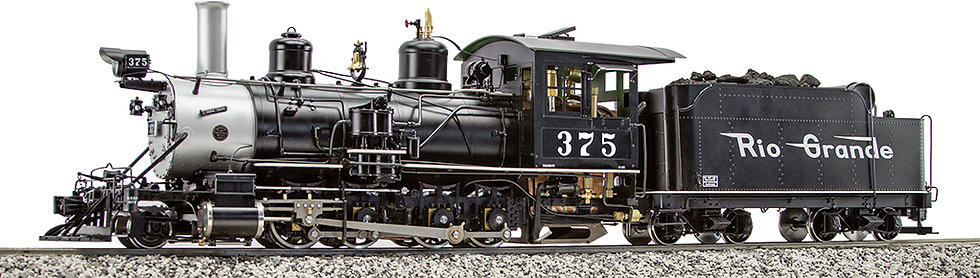 AL87-121C D&RGW C-25 #375 Black Flying Rio Grande, Coal Fired