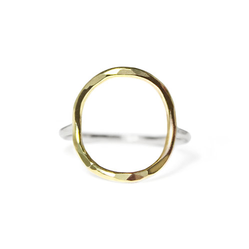 GOLD & SILVER HAMMERED LRG CIRCLE RING