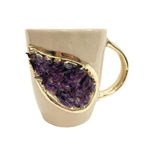 AMETHYST CREAM CERAMIC COFFEE MUG