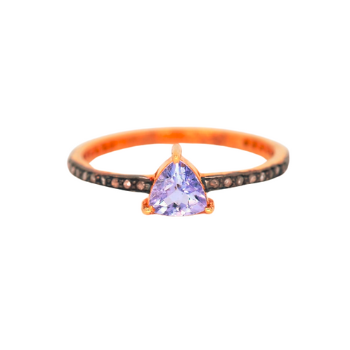 TANZANITE TRILLION DIAMOND RING