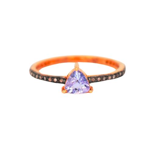 TANZANITE TRILLION DIAMOND RING