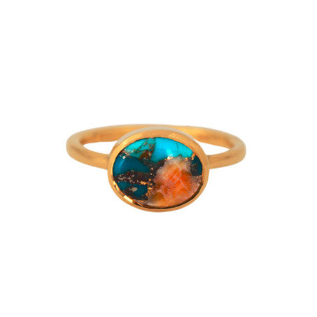 OVAL TURQUOISE INLAY GOLD RING