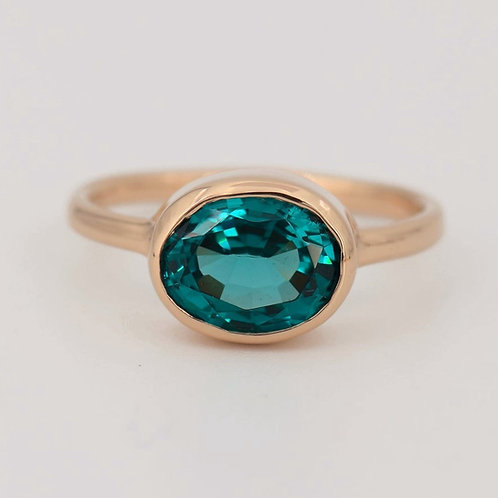 14K SOLID GOLD TEAL SAPPHIRE RING