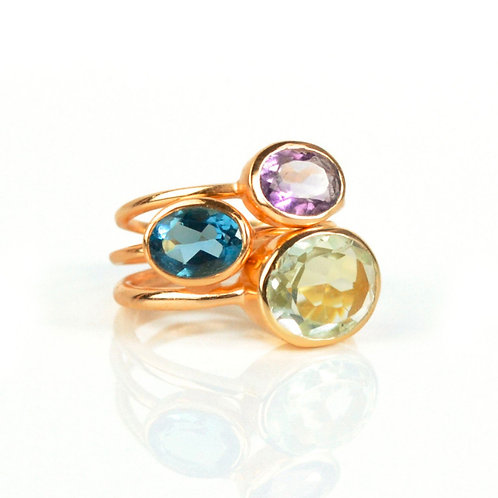 3-STACK LARGE OVAL RING SET