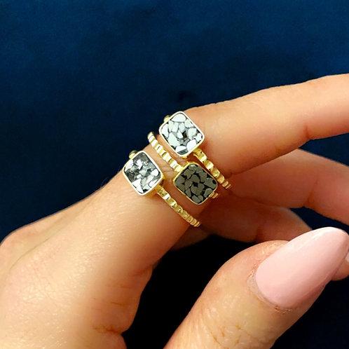 BLACK DIAMOND MOSAIC INLAY RING