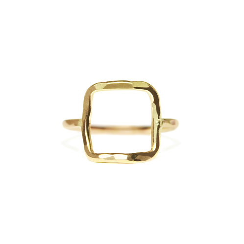 SQUARE HAMMERED RING