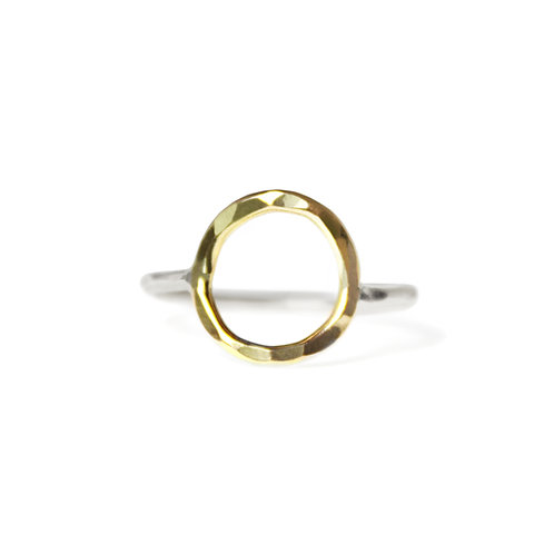GOLD & SILVER HAMMERED CIRCLE RING