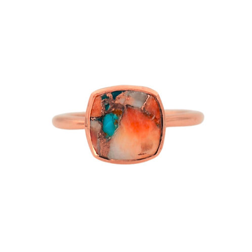 CUSHION-CUT TURQUOISE INLAY ROSE GOLD RING
