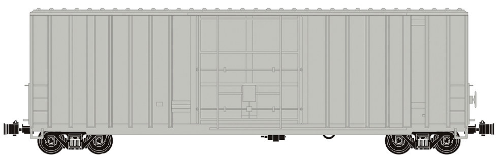 G411-00X 50' Hi-Cube Box Car - Unlettered Gray, 1 car