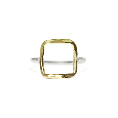 GOLD & SILVER HAMMERED SQUARE RING